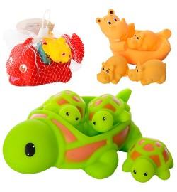 Тварина 6327-1-2-8 (180шт) для купання, пищалка, 4шт, 3 види, в сітці, 15-8-11см