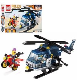 Конструктор BRICK 1905 (48шт) полиция, вертолет, мотоцикл, фигурки 2шт, 157дет,в кор-ке, 30-17,5-5с