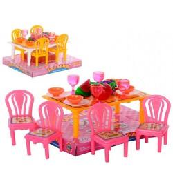 Їдальня 967 (180шт) стіл, 4 стільці, посуд, фрукти, в слюди, 13-11-9см