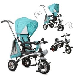 Велосипед M 3212A-1 (1шт)три кол.резина,трансформер(беговел),поворот,быстросъем.колеса,бирюза
