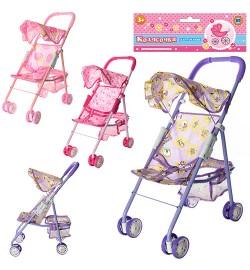 Коляска M 0352 U/R (24шт) для куклы,прогулоч,46-53-22см,корзин,козыр,колеса6,5см,в кульке,27-57-12с
