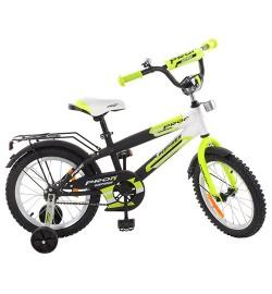 Велосипед детский PROF1 14д. G1454 (1шт) Inspirer,черно-бел-салат(мат),звонок,доп.кол
