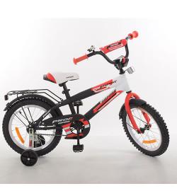 Велосипед детский PROF1 16д. G1655 (1шт) Inspirer,черно-бел-красн(мат),звонок,доп.кол