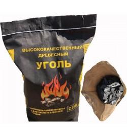 Дерев'яне Вугілля MIX 2,5кг просіяний, середньо-велика фракція черный