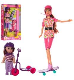 Лялька DEFA 8191 (24шт) 30см, з донькою 10см, самокат, скейт, 2 види, в кор-ке, 20-34,5-6см