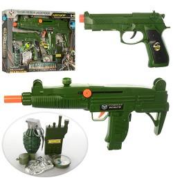 Набор военного M014 (24шт) автомат38см, пистолет18см, граната,рация,компас,трещотка,в кор,42-28-4см