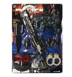 Набір поліцейського 3003-20 (48шт) автомат 2шт, ніж, бінокль, наручники, маска, значок, на аркуші, 38-53-4с