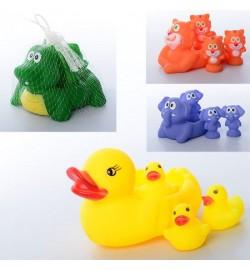 Животное 001-628-48-58 (120шт) для купания, 4шт, пищалка, 14,5см и 6см, 4 вида, в сетке, 14,5-9-7см