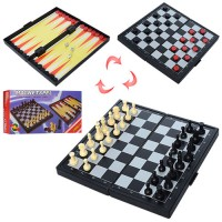 Шахматы THS-066 (120шт) 3в1, магнитные(шахматы), в кор-ке, 19,5-10-3см