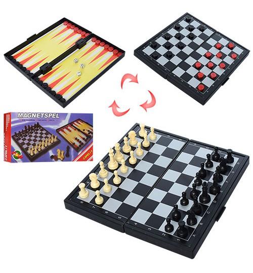 Шахи THS-066 (120шт) 3в1, магнітні (шахи), в кор-ке, 19,5-10-3см