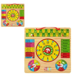 Дерев'яна іграшка Годинник MD 0004 U / R (72шт) календар, 2 види (рус / укр), 30-30см