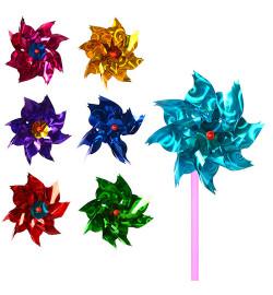 Ветрячок M 3721 (1000шт) размер маленький, диам.8см,палочка12см,цветок,фольга,7цветов,