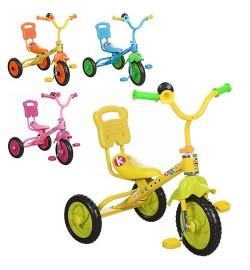 Велосипед M 1190 (4шт) 3 колеса, блакитний, рожевий, жовтий (один колір в ящику), клаксон