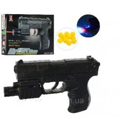 Пистолет 138D (288шт) на пульках, 13,5см, свет, лазер, на бат-ке(табл), в кор-ке, 15,5-11,5-3см