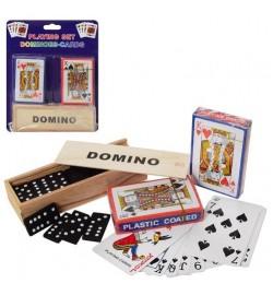 Настольная игра A140 (72шт) домино(дерев), карты 2шт, на листе, 18-23-4см