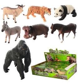 Тварини D160-12P-PA (216шт) от8,5см, 2віда (дикі, домашні), в слюди, 12шт в дисплеї, 35,5-20-8см