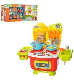Кухня 16809D (18шт) кастрюля,сковород,кух.принадл, продук,11предм,зв,св,на бат,в кор-ке, 43-21-13см