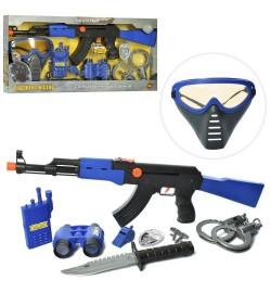 Набор полицейского 33760 (36шт) автомат, маска, рация, бинокль, трещотка, в кор-ке, 52-26-3,5см