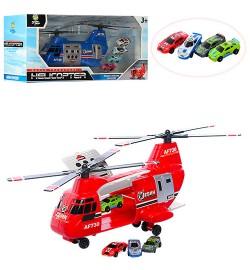 Набор транспорта AF1018A-B (48шт) вертолет21см,машинка4см-4шт,2цвета,в корке,36,5-16-10см