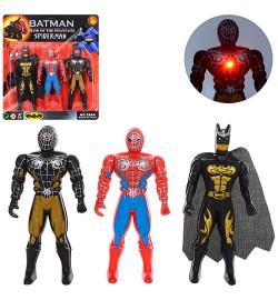 Супергерої 288A5 (408шт) СМ, BM, 3шт, 12см, світло, подвіжн.рукі, на бат (табл), на аркуші, 19-21-2см