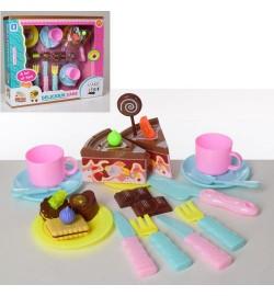 Продукты LKE16A3 (24шт) сладости,торт на липучке, чайн.сервиз, столовые приборы, в кор-ке, 40-34-9с