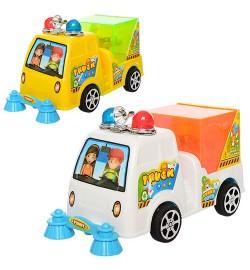 Машинка 6020 (288шт) для уборки дорог,16,5см,свет(на запуске), 2цв,на бат-ке,в кульке,16,5-7,5-9,5с