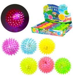 Мяч массажный MS 1137-1 (240шт) 6,5см, св, пищалка, на бат(таб),24шт(6цветов,) в дисплее,38.5-26-6с