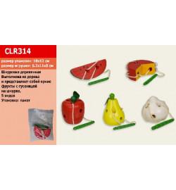 Деревян. шнуровка CLR314 (288шт) фрукты 5 микс 10*12см.в пакете 6,2*11*8см