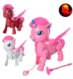 Лошадка пони 3188-32 (96шт) единорог16см, звук, свет, ходит, 3 цвета,на бат-ке,в кульке,16-17-17см