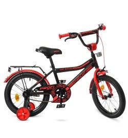 Велосипед детский PROF1 16д. Y16107 (1шт) Top Grade,черно-красн.(мат),звонок,доп.колеса