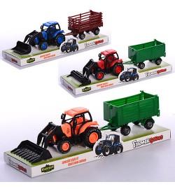 Трактор 8896 (180шт) инер-й, с прицепом 24см, 3вида, в слюде, 25,5-7,5-7см
