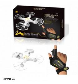 Р.У.Квадрокоптер W606-18 с перчаткой.с гироскопом.свет.вращ.на 360гр.аккум.USB.кор.24*4*15 /48/