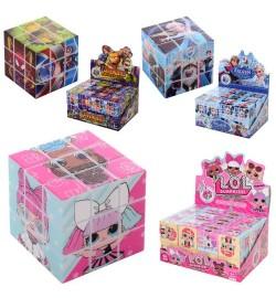 Кубик 818A-B-C (480шт) 3х3, 3,5 см, 3в (AV, LOL, FR), 24шт в дисплеї, 14,5-7-11см головоломка-логіка