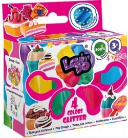 Набор тіста для ліплення ТМ Lovin'Do Асорті 4 кольори з глітером тесто  в коробке 30шт