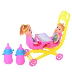 Кукла ZJ688-184 (160шт) 2шт, 10см, коляска 12см, бутылочка 2шт, в кульке, 12-16-6см