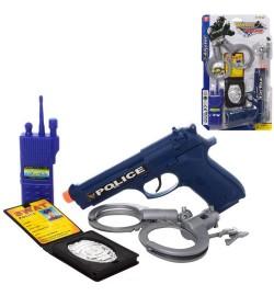 Набор полицейского 34370 (72шт) пистолет,19,5см, рация, наручники, на листе,22-37-4см