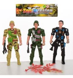 Солдат 8015-4 (240шт) 3шт, 12,5 см, зброя, в кульках, 16-17-2см герої