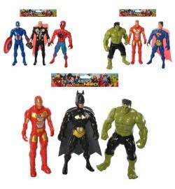 Супергерои 899-31-32-33K (180шт) AV, герои 15см,3шт, св, 3в,бат(таб), в кульке, 21-19-3см