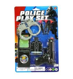 Набор полицейского 8065 (144шт) пистолет11,5см,присоски3шт,наручн,мишень,на листе, 19-28,5-2см