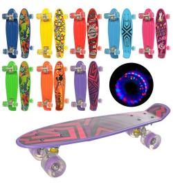 Скейт MS 0749-1 (8шт) пенни56-14,5см, колесаПУ свет, рисунок,8видов, разобр, в кульке,