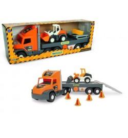 Super Tech Truck с бульдозером машинка трейлер трактор