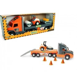 Super Tech Truck с катком машинка трейлер