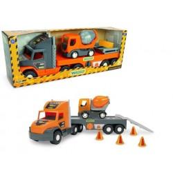 Super Tech Truck с бетономешалкой машинка трейлер