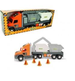 Super Tech Truck со строительными контейнерами машинка трейлер