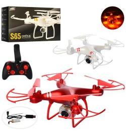 Квадрокоптер S65 (6шт) р/у2,4G,аккум,30см,свет, камера,Wi-Fi,USBзар,2цв,в кор-ке,40,5-23-11см