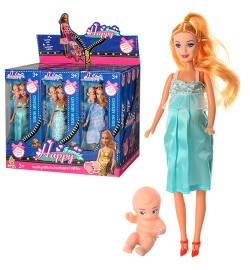 Кукла 2909 (96шт) беременная(29см) с пупсом(5см),3 вида,в кор-ке,13-33-6см,12 шт в дисплее,40-23-34