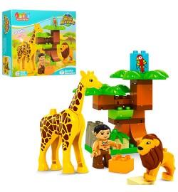 Конструктор JDLT 5289 (24шт) зоопарк, фигурка,лев,жираф-звук,бат(табл),26дет,в кор-ке,32-28,5-9см