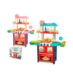 Кухня 8764AB (6шт) плита, духовка,звук,свет, мойка,посуда,продукты,51дет,2цв,бат,в кор-ке,53-61-15с