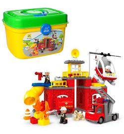 Конструктор HG-1 922 (6 шт) пожежна, ділянку, транспорт, фігурки, 75дет, в валізі, 37-26-26см