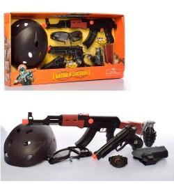 Набор с оружием S006B (12шт) автомат52см-трещотка,пистолет19см, часы,шлем,очки, в кор-ке, 59-31-12с